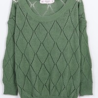Pretty & Trendy Pure Color Hollow-out Sweater----Green