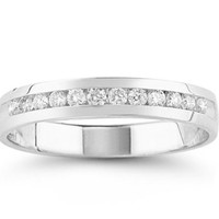 14k White Gold and Diamond Anniversary Ring (1/4 cttw H-I Color, SI2-I1 Clarity), Size 7