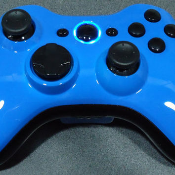Custom New Xbox 360 Wireless Controller - Glossy Blue & Black