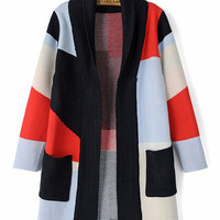 Geometric Color Pattern Double Pocket Knitted Cardigan