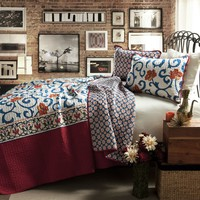 King Size 3-Piece Cotton Quilt Set in Red White Blue Floral Scroll Pattern