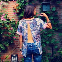 Bohemian Top Open Back Split Shirt Backless Paisley Boho Hippie Women's Upcycled Clothing Recycled Eco Friendly Clothing OOAK