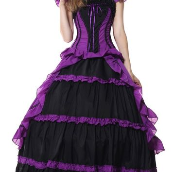 Victorian Style Halloween Costume Cosplay Tiered Ruffles Big Bow at Back Waist Cincher Purple Queen Costume for Women