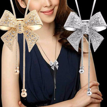 TOMTOSH fashion jewelry 2016 necklace necklace long necklace bow style for ladies decorations