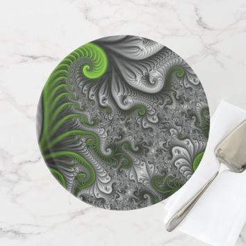 Fantasy World Green And Gray Abstract Fractal Art Cake Stand