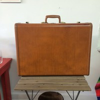 Midcentury brown leather Samsonite hard suitcase