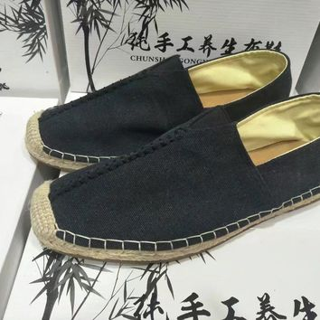 Men Simple Casual Hand Made Weave Cloth Shoes Single Shoes Lazy Flats Shoes
