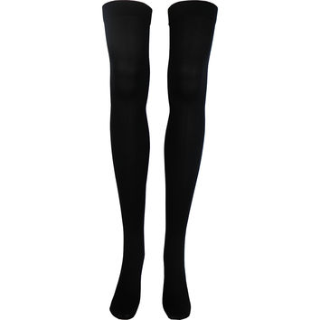 Solid Opaque Thigh High Socks in Black