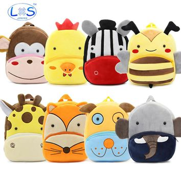 (LONSUN)Animals Plush Backpack 24*10.5*26.5cm stuffed & plush Kids Plush Backpack Toys Office supplies Childrens Gifts