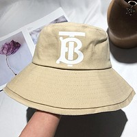 Burberry Fashion New Women Men Travel Cap Leisure Fisherman's Hat Orange Beige