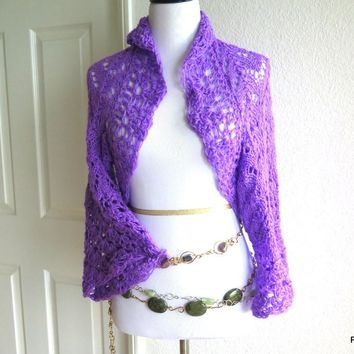Lacy hand knit sweater shrug, gift for her