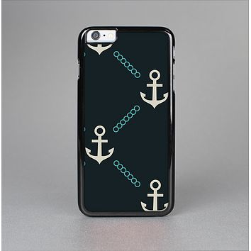 The Blue & Teal Vintage Solid Color Anchor Linked Skin-Sert for the Apple iPhone 6 Skin-Sert Case