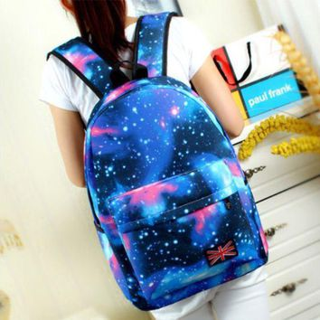 Free shipping Women Galaxy Stars Universe Space printing backpack School Book Backpacks British flag Stars bag mochila