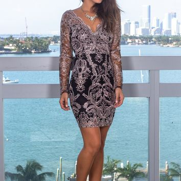 Black and Mauve Short Dress with Long Sleeves