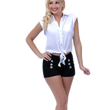 Bettie Page White Wings Button Up Blouse - Unique Vintage - Prom dresses, retro dresses, retro swimsuits.