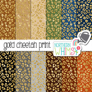 Cheetah Print Digital Paper – Gold foil leopard print scrapbook paper in navy, black, grey, and brown - printable paper - commercial use OK