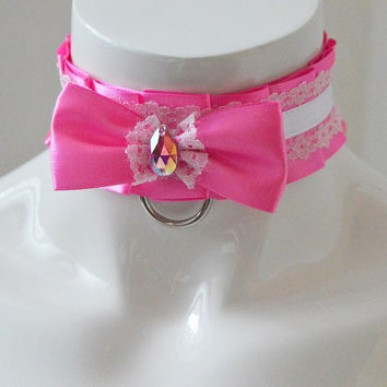 Kittenplay collar - Princess Aurora - BDSM proof pink ddlg daddy kink princess kawaii cute neko girl lolita petplay kitten play choker