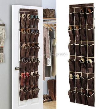 24 Pocket Home Over The Door Hanging Organizer Storage Holder Rack Closet Shoes H06