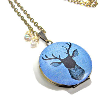 Deer Head Blue Antler Handpainted Brass Locket with Czech Glass Drops 14K Gold Wire