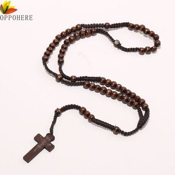 OPPOHERE Men Women Catholic Christ Wooden 8mm Rosary Bead Cross Pendant Woven Rope Necklace Black/brown/Beige/ligt brown