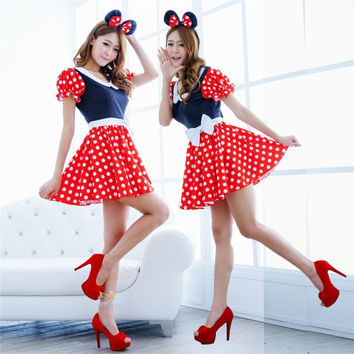 Sexy Red White Polka Dot Sweet Minnie Mouse Fancy Dress Halloween