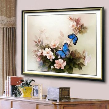 Blue Butterfly Cross Stitch 3D DIY Embroidery Needlework Set Home Decoration