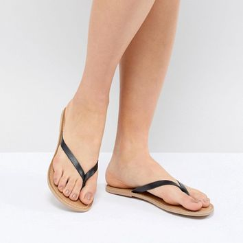 London Rebel Leather Flat Sandals at asos.com