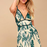 Your Type Teal Green and Cream Floral Print Dress