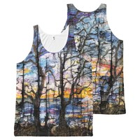 Grunge Art Seascape Georgia, Peeling Paint All-Over Print Tank Top