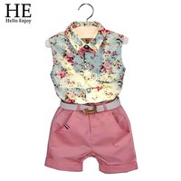 Girls clothes summer girls clothing sets kids clothes Floral girl shirts+shorts clothing sets
