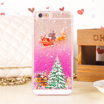 New Year Gifts Christmas tree Snowman Glitter Star Liquid quicksand Transparent Clear Cover For iphone 6 Case 4.7 i6 Phone Cases