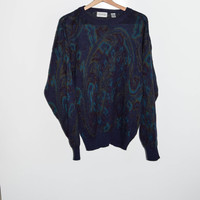 Vintage 80s Mens Acrylic knit Sweater Grunge Womens