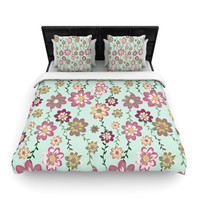 "Nika Martinez ""Romantic Floral in Mint"" Pink Teal Woven Duvet Cover"