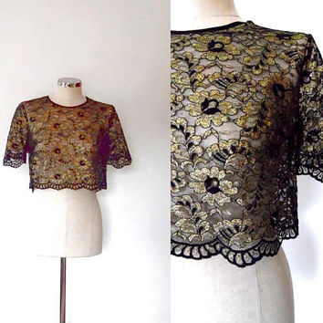 Lace floral blouse top / black / shimmery / gold / metallic / vintage / 1950s style / button up / scallop trim / elegant / crop evening  top