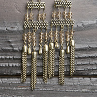 Bead Detail Tassel Earring - Gold