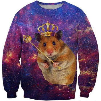 Latest fashion fads Lovers clothes print Funny hamster casual Sweatshirts long sleeved loose Sweatshirt casual hoodie G202 = 1931606404