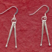 Sterling Silver DrumSticks Earrings