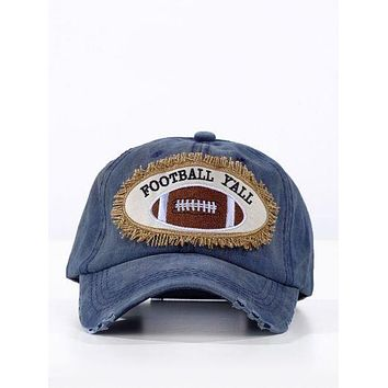 Football Y'all Patch on Navy Distressed Hat