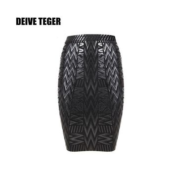 DEIVE TEGER Wholesale Free Shipping 2016 New Bandage Women Pencil Skirts Black Wood Grain Foil Print HL1074