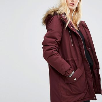 Noisy May Festival Faux Fur Parka at asos.com