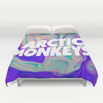 Psychedelic Arctic Monkeys Logo Duvet Cover by Julia