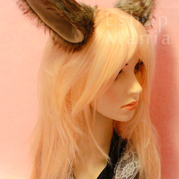 Bendable 16cm BIG WOLF Ears cat fox ears hair clip / headband, wire inside twist-able, Dark brown& Khaki /Black/White/Pink/Red/purple/Grey