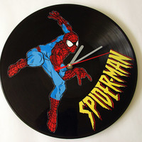 Spider-Man vinyl record clock