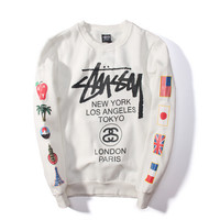 """Stussy""Lover Pattern Fashion Letter Pattern Print Scoop Neck Loose Long  Sleeve Sweatshirt"