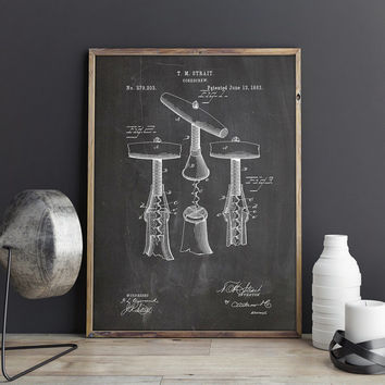 Corkscrew Decor, Wine Tools Art, Wine Art Poster, Wine Wall Print, Wine Bar Art, Wine Lover Art, Wine Poster,Enoteca Decor, INSTANT DOWNLOAD