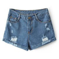 ROMWE Ribbed Pocketed Dark-blue Shorts