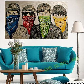 Banksy Canvas Painting Graffiti Street Art Poster Funny Pictures The Beatles Decoration Pictures Unframed