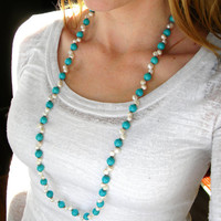 Long Aquamarine Necklace, Long Necklace, Pearl Necklace, Beaded Necklace, Handmade Beaded Jewelry, Turquoise Necklace
