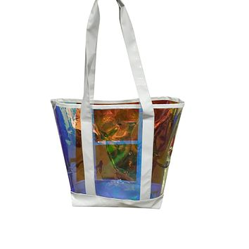 The new summer iridescent leather bag, hand bag, White clear transparent and iridescent handbag, beach tote bag, sand shoulder shopping bags