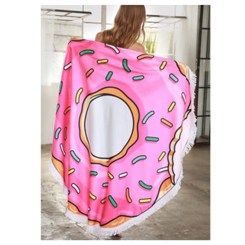 """Fun in the Sun"" Fringe Trim Donut Round Beach Towel"
